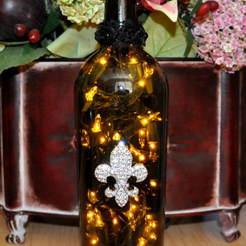 Fleur-de-Lis Wine Bottle Lamp Recycled by TipsyGLOWs