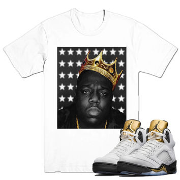 Biggie Crown Tee-Jordan Gold Coin Olympic 5's
