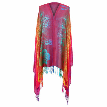Fashion Vintage Boho Scarf Women Luxury Brand 2017 Bandana Floral Printed Ladies Poncho Summer Beach Silk Tassel Shawl Scarves