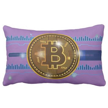 Bitcoin crypto currency graph Design Lumbar Pillow