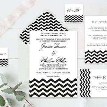 Wedding Invitation Suite Templates, Black Chevron Wedding Invitation Kits, Printable Wedding Invitation, DIY Suite Templates, DIY You Print