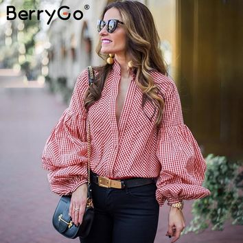 BerryGo Vintage puff sleeve plaid blouse shirt Causal summer women blouses blusas 2018 Black stripe blouse tops streetwear