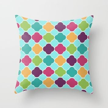 Vivid Morrocan Quatrefoil Throw Pillow by SimplyChic