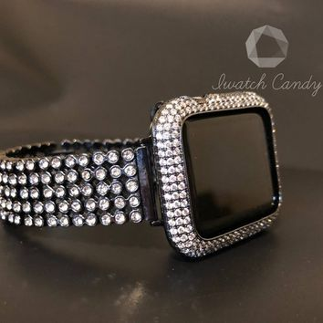 Apple Watch Band Black Womens Mens Rhinestone Crystal 38mm/40mm 42mm/44mm Series 1,2,3,4 /Case Cover Bezel Lab Diamonds CZ Bling Smart Watch