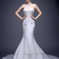 Embroidered Trumpet Tulle Overskirt Wedding Dress