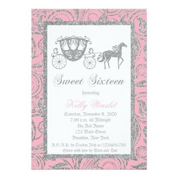 Princess Carriage Glitter Sweet 16 Invitation