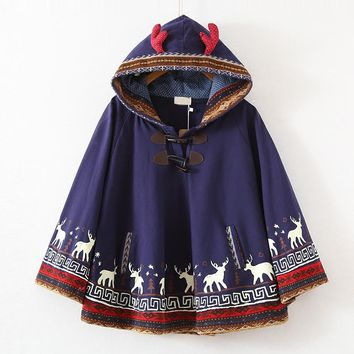 2017 Autumn new Milu deer Printed Young Girls Students Cape Hood with antler Harajuku Cloak Cotton Fresh Navy blue Hoodies