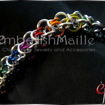 Necklace~ LGBT / Gay Pride inspired Rainbow Accented Elfweave chainmaille. Deceivingly lightweight Lead/Nickel FREE. Perfect for Him or Her!