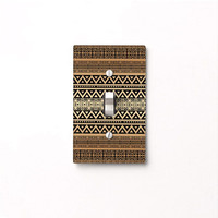 Light Switch Cover, switchplate cover, tribal decor, brown switch plate, decorative light switch, boho decor, tan decor, switch plate cover