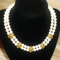 Vintage Choker Pearls and Gold Tone Glam Necklace Bridal Party Jewelry Special Occasion Wedding Jewellry Gift for Her Christmas Birthday