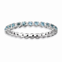 Sterling Silver Stackable Expressions Blue Topaz Ring: RingSize: 7