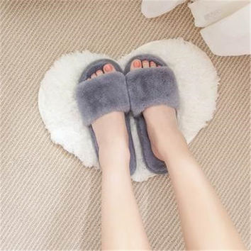 Fashion autumn and winter indoor home lovers cotton drag floor plush slippers female slip-resistant