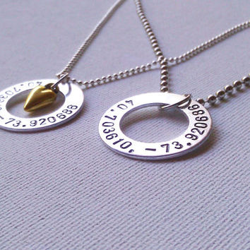 His and Hers Location Necklace Set - Two Necklaces with Latitude and Longitude Coordinates for Couples - Where We Met or Long Distance