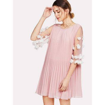 Applique Mesh Sleeve Pleated Swing Dress
