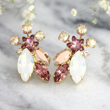 Blush Earrings, Bridal Blush Earrings, Cluster Swarovski Crystal Earrings, Blush Crystal Stud Earrings, Bridesmaids Earrings, Gift For Her