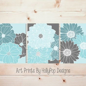 Aqua Teal Gray Home Decor Bedroom Wall Art Bathroom Wall Art Dahlia Art Prints Floral Burst Wall Art Flower Pictures Bedroom Decor #1046