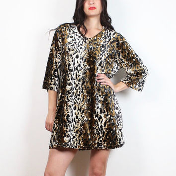 Vintage 90s Dress Leopard Print Velvet Micro Mini Dress 1990s Soft Grunge Animal Cheetah Club Kid Tshirt Dress Rave Wear L Extra Large XL