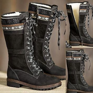 Leather Lace Up Suede Mid Calf Boots