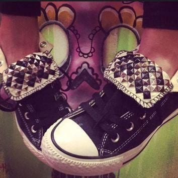 DCCK1IN custom studded black high top converse chuck taylors all sizes colors
