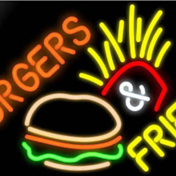 Burger Fries Neon Sign