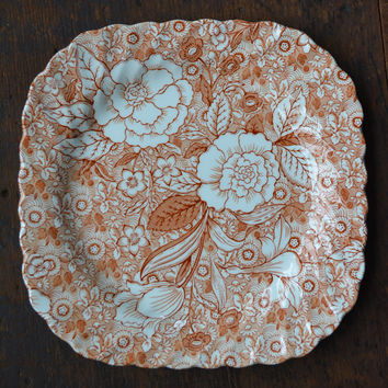 Brown Chintz Transferware Plate Tiffany & Co Johnson Brothers Square Floral Sheet Pattern Transferware