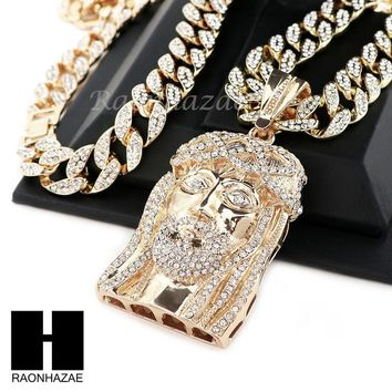 "Hip Hop Gold Plated New Jesus Face PAVE Pendant 30"" Iced Out Cuban Link Chain N3"