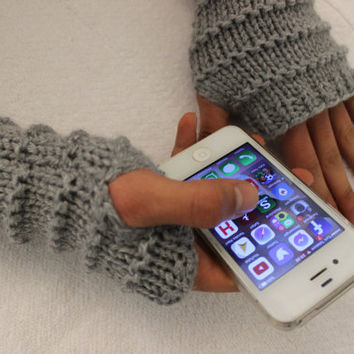 Hand Knitted Fingerless Gloves, Male gray gloves , male gloves,Turkish handicrafts, Gift Ideas, For Her,Winter Accessories, Male Accessories
