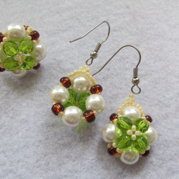 Handmade olive green pearl, brown&white beaded ring, earring set