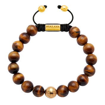 Men's Beaded Bracelet with Gold and Brown Tiger Eye