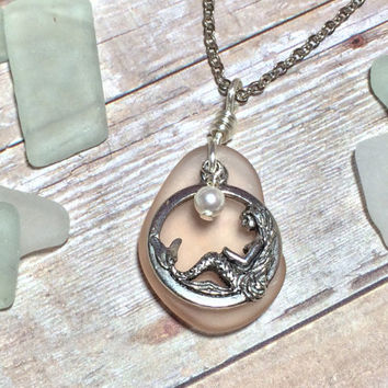 Mermaid Necklace - Champagne Seaglass - Peach Beach Glass - Pearl Necklace - Bridesmaid Gift - Friendship Gift - Mermaid Jewelry