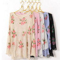 Floral Distressed Sweater (More Colors) from Simpelle