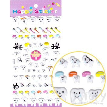 Tooth Teeth Shaped Smiley Face Dentist Themed Squishy Stickers