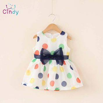 Baby Girl Dresses Girls Bow Vest Dress Infant Girl Sleeveless Dot Dress Baby Birthday Dress Clothes