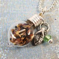 Spring seeds glass vial necklace. Wildflower seeds.