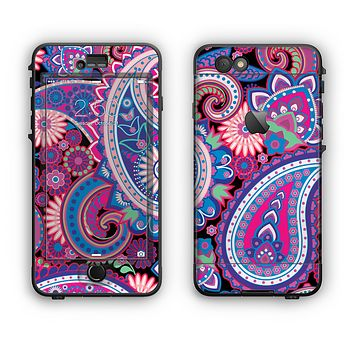 The Vibrant Purple Paisley V5 Apple iPhone 6 LifeProof Nuud Case Skin Set