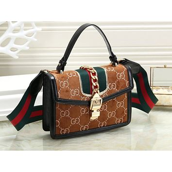 Gucci Fashion Hot Selling Lady's Printed Zipper Shopping Bag Single Shoulder Bag
