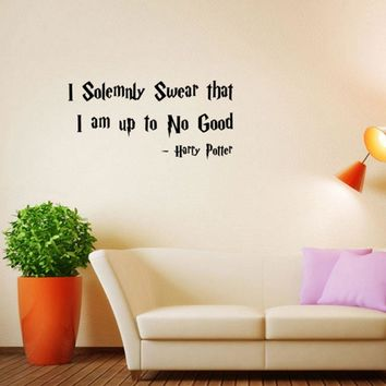 Vinyl Wall Decal Sticker : I Solemnly Swear That I Am Up To No Good Harry Potter Quote Bedroom Bathroom Living Room Picture Art Peel & Stick Mural Size: 10 Inches X 22 Inches