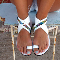 Bohemian Leather Sandals, in Six Colors. Thalia 05 NEW