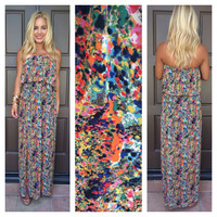 Color Sprinkled Strapless Maxi Dress