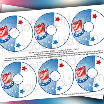 Printable Stars And Stripes Patriotic Customizable Wine Markers - INSTANT DIGITAL DOWNLOAD