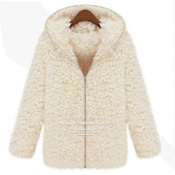 Winter Women Casual Hooded Warm Fluffy Shaggy Overcoat Coat Thick Hoodie Faux Fur Zipper Jacket Outwear  SECRET GARDEN = 1931488004