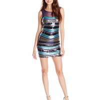 As U Wish Juniors' Sleeveless Sequin Illusion Bust Party Dress