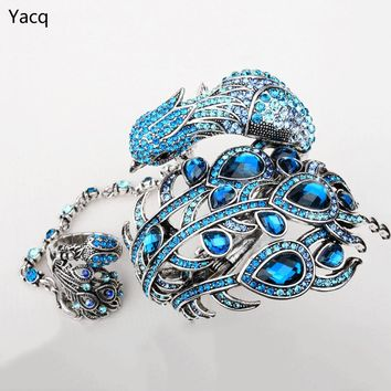 YACQ Peacock Bangle Bracelet Slave Hand Chain Attached Ring Sets Women Jewelry Gifts A23 Silver Color ping