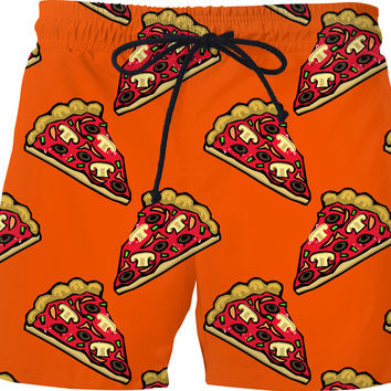 Pizza all-over-print swim shorts, yummy fastfood short pants