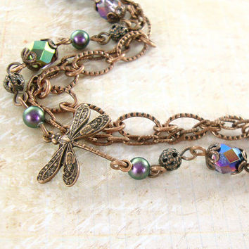 Copper Chain Multi Strand Bracelet - Swarovski Pearls Czech Glass Dragonfly Bracelet Peacock Colors Rustic Nature Purple and Copper Jewelry