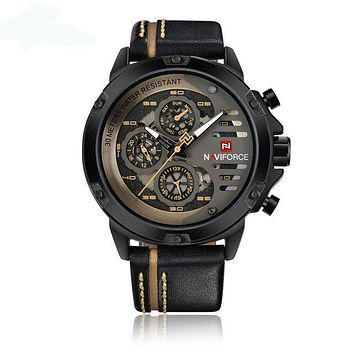 Mens Business Casual Leather Quartz Watch with Auto Date and Calendar