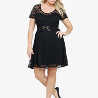 Illusion Yoke Belted Lace Dress
