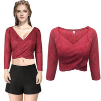 Women Sexy V-Neck Low Cut Wrap Cross Long Sleeve  Short T-shirt Tops Blusas Femininas Vintage Style = 1667698884