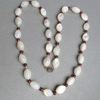 1920's Vintage Carved Big Oval Mother-of-Pearl & Garnet Hand-Knotted Bead Necklace