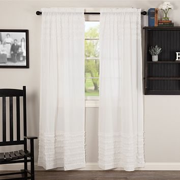 White Ruffled Sheer Petticoat Panel Curtains